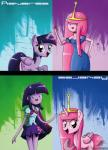 2013 abstract_background adventure_time alternate_universe bag clothing crown cutie_mark dress english_text equine female feral friendship_is_magic gold hair horn horse human mammal multicolored_hair my_little_pony pink_hair ponification pony princess_bubblegum purple_hair text the-butch-x twilight_sparkle_(mlp) winged_unicorn wings   Rating: Safe  Score: 15  User: 2DUK  Date: November 03, 2013