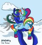 2016 anthro anthrofied askdirty balls biped blonde_hair blue_balls blue_breasts blue_ears blue_fur blue_hair blue_penis blue_sky blue_wings breasts butt clothing cloud cloudscape cloudy_sky cum cum_inside cutie_mark dirtyscoundrel duo ear_piercing equine eyewear fan_character female friendship_is_magic fur green_eyes green_hair grey_hair hair hi_res jackmar legwear looking_at_another looking_at_partner male male/female mammal midair mostly_nude multicolored_clothing multicolored_hair multicolored_legwear multicolored_tail my_little_pony orange_hair outside pegasus penetration penis piercing ponytail purple_eyes purple_hair rainbow_clothing rainbow_dash_(mlp) rainbow_hair rainbow_legwear rainbow_tail rear_view red_hair sky smile vaginal vaginal_penetration wings