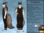 2017 4:3 4_toes 5_fingers abstract_background anthro barefoot brown_hair character_name claws clothed clothing conditional_dnp english_text entalonus eyewear fluffy fluffy_tail fully_clothed fur glasses hair hi_res holding_object horn looking_at_viewer male measurements model_sheet multiple_poses pants plant ponytail pose pottery psycrhen ratte side_view sleeveless_shirt smile solo tan_fur text toes white_fur