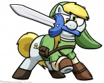 blonde_hair bottomless clothed clothing crossover cutie_mark derp derpy_hooves_(mlp) earth_pony equine feral friendship_is_magic glare hair half-dressed horse link mammal master_sword melee_weapon mouth_hold my_little_pony nintendo pokehidden pony pose raised_hoof solo sword the_legend_of_zelda triforce video_games weapon  Rating: Safe Score: 12 User: Burgerpants Date: October 28, 2015