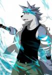 abs anthro aura biceps big_muscles black_nose blue_aura canine clothing digital_media_(artwork) dog dog_tags fur grey_fur grey_hair guitar hair husky kouya_aotsuki looking_at_viewer male mammal morenatsu muscles musical_instrument musikus necklace pants pecs pose shirt solo standing sweatband tank_top teeth toned white_fur wristband yellow_eyes   Rating: Safe  Score: 3  User: #DanTheMan  Date: May 26, 2015