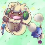 ambiguous_gender bag blush brown_eyes cute duo eyes_closed flora_fauna jumpluff nintendo open_mouth plant pokémon tongue vaporotem video_games whimsicott   Rating: Safe  Score: 1  User: DeltaFlame  Date: February 24, 2015