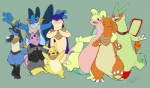 alternate_color amphibian anthro arm_around_shoulders bandanna blush bottomless canine charizard clothed clothing collar cute_fangs eyes_closed eyewear fan_character featureless_crotch flygon front_view glasses goodra group grumpig kaptcha lucario male mammal membranous_wings mostly_nude mustelid nintendo open_mouth pikachu pokémon porcine rodent scalie semi-anthro smile standing swampert tachi_(kaptcha) typhlosion vest video_games waving wingsRating: SafeScore: 7User: CirceusDate: July 29, 2016