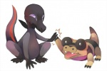 2016 conmimi duo feral nintendo pokémon reptile salandit sandile scalie simple_background video_games white_backgroundRating: SafeScore: 9User: Rad_DudesmanDate: July 07, 2016