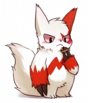 ambiguous_gender blush cute feral huiro nintendo pokepuff pokémon simple_background solo video_games white_background zangoose  Rating: Safe Score: 11 User: tengger Date: March 24, 2016