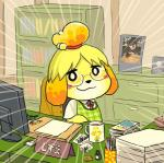 animal_crossing blush canine coffee coffee_cup computer desk dog eyewear female glasses isabelle_(animal_crossing) looking_at_viewer mammal meme nintendo video_games   Rating: Safe  Score: 5  User: Juni221  Date: March 13, 2014