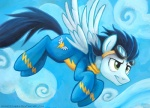2013 black_hair blue_fur cloud cloudscape equine eyewear feral flying friendship_is_magic fur goggles green_eyes hair male mammal my_little_pony outside pegasus skinsuit sky soarin_(mlp) solo sophiecabra wings wonderbolts_(mlp)  Rating: Safe Score: 3 User: 2DUK Date: April 22, 2013