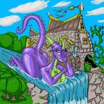 anthro big_breasts breasts butt caprine cloud dragon female horn looking_at_viewer macro mammal nude purple_skin river scalie sheep sky solo tree waterfall zhmernalt  Rating: Questionable Score: 4 User: Warplord Date: January 22, 2016