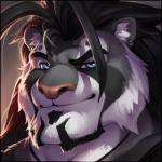 2016 anthro beard black_fur black_hair blue_eyes dazen_(character) digital_media_(artwork) digital_painting_(artwork) ear_piercing facial_hair feline front_view fur grey_fur hair headshot_portrait icon j_axer looking_at_viewer male mammal multicolored_fur piercing pink_nose portrait raised_eyebrow simple_background solo tiger white_fur