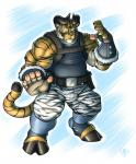 2013 anthro belt biceps big_muscles bovine camo cattle claws clothing feline footwear fur gloves glowing glowing_eyes green_eyes hooves horn hybrid looking_at_viewer male mammal markings muscles pants pink_nose pose shirt solo standing stripes tank_top tarke tiger tigerbull vallhund werelion2003  Rating: Safe Score: 4 User: beartraps Date: September 22, 2013