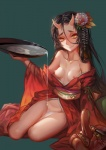 breasts demon female flower horn noh_mask oni open_clothes plant pouring robe saber sash small_breasts smile solo yellow_eyes   Rating: Explicit  Score: 14  User: Acolyte  Date: February 24, 2015