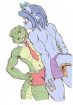 anthro blue_hair blue_skin blush clothing crocodile dragon duo eyewear glasses hair looking_at_viewer looking_back male male/male muscular navel necktie nipples reptile scalie simple_background smile underwear white_background zenmigawa  Rating: Questionable Score: 15 User: somnusmg Date: March 09, 2012