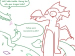 anthro comic crackle_(mlp) dragon female friendship_is_magic garble_(mlp) male multi_limb multiple_arms my_little_pony nervous scalie seductive text the_weaver young  Rating: Safe Score: 9 User: SirAntagonist Date: December 25, 2012