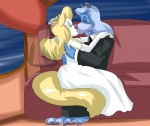 animaniacs anthro arm_length_gloves blush canine clothing duo embrace eyes_closed female gloves hikariangelove_(artist) kissing male male/female mammal minerva_mink mink mustelid veil wedding_gown wedding_ring wilford_wolf wolf  Rating: Safe Score: 4 User: tpirman5000 Date: November 10, 2014""