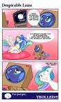 blue_eyes blue_hair box clothed clothing comic crying cute cutie_mark english_text equine feral friendship_is_magic green_hair group hair horn horse humor magic mammal moon multicolored_hair my_little_pony nude pillow pink_hair pony princess_celestia_(mlp) princess_luna_(mlp) purple_eyes sitting smile speech_bubble tailzkip tears television text winged_unicorn wings   Rating: Safe  Score: 1  User: GameManiac  Date: March 02, 2015