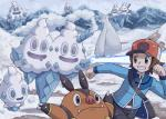 bear beartic chasing child ice mammal nintendo pignite pokemoa pokémon pokémon_(species) polar_bear porcine running snow vanillish vanillite vanilluxe video_games young