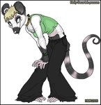 anthro blonde_hair blue_eyes clothed clothing collar ear_piercing female hair holly_massey long_tail mammal marsupial midriff opossum piercing seux shirt solo stripes tank_top torn_clothing virginia_opossum   Rating: Safe  Score: 1  User: The Dog In Your Guitar  Date: April 07, 2007