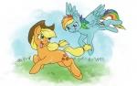 2013 applejack_(mlp) duo equine female feral friendship_is_magic horse hybridance mammal my_little_pony pegasus pony rainbow_dash_(mlp) wings   Rating: Safe  Score: 9  User: Robinebra  Date: July 12, 2014