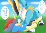 anal anal_penetration blue_eyes censored cobalion dialogue eye_contact feral grass japanese_text keldeo legendary_pokémon lying male male/male netiel nintendo on_back outside penetration penis pokémon simple_background sky text translated video_games yellow_eyes