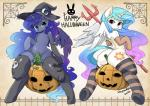 2014 blue_fur blue_hair butt clothing convenient_censorship costume cutie_mark duo elbow_gloves english_text equine female feral friendship_is_magic fur gloves hair halloween hat hi_res holidays horn legwear long_hair looking_at_viewer mammal multicolored_hair my_little_pony princess_celestia_(mlp) princess_luna_(mlp) pumpkin shepherd0821 sibling sisters striped_legwear stripes text thigh_highs white_fur winged_unicorn wings  Rating: Questionable Score: 32 User: lemongrab Date: October 29, 2014