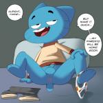 absurd_res anus balls blue_fur dialog english_text feline fur gumball_watterson hi_res inviting jerseydevil male mammal penis presenting solo spreading text the_amazing_world_of_gumball uncut   Rating: Explicit  Score: 3  User: Esme_Belles  Date: March 11, 2014