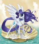 2013 blue_eyes cloud crown cutie_mark equine eyeshadow female feral friendship_is_magic gold hair horn inspired_by_proper_art john_joseco long_hair long_tail looking_at_viewer makeup mammal my_little_pony necklace outside purple_hair rarity_(mlp) seashell sky smile solo sparkles water winged_unicorn wings   Rating: Safe  Score: 14  User: 2DUK  Date: August 17, 2013