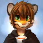 anthro beverage brown_hair clothed clothing cup feline food fur green_eyes hair happy holding_cup looking_at_viewer male mammal multicolored_fur orange_fur short_hair simple_background smile solo stripes tea thanshuhai tiger white_fur