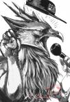 ambiguous_gender anthro avian beak chanrom gryphon hat hi_res microphone monochrome open_mouth simple_background solo white_background  Rating: Safe Score: 1 User: EmoCat Date: January 24, 2016
