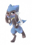 2014 ambiguous_gender blue_eyes blush cute feral fur heterochromia looking_at_viewer monochroact nintendo on_one_leg pokémon red_eyes riolu simple_background solo standing video_games white_backgroundRating: SafeScore: 3User: SorrowlessDate: May 22, 2017