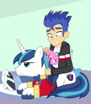 2015 annoyed blue_eyes blue_hair bow bow_tie clothing comb cutie_mark dm29 duo equestria_girls equine flash_sentry_(eg) friendship_is_magic hair horn lying male mammal my_little_pony shining_armor_(mlp) unicorn   Rating: Safe  Score: 4  User: 2DUK  Date: April 13, 2015