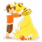 affection ambiguous_gender ampharos blush ethan eyes_closed lei male nintendo paspa pokémon size_difference video_games   Rating: Safe  Score: 3  User: chdgs  Date: September 14, 2013