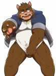 balls bear blush bottomless clothed clothing covering embarrassed half-dressed juuichi_mikazuki looking_at_viewer male mammal morenatsu simple_background solo whinge white_background  Rating: Explicit Score: 6 User: drafan5 Date: November 10, 2015