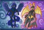 2015 anthro anthrofied armor bat batman batman_(series) belt blue_eyes blue_feathers blue_fur blue_hair breasts cape clothed clothing crossover cutie_mark dc_comics duo equine female fluttershy_(mlp) friendship_is_magic fur hair horn hybrid legwear long_hair looking_at_viewer mammal mask my_little_pony nightwing pink_fur pink_hair princess_luna_(mlp) raptor007 red_eyes skimpy smile sword teeth unconvincing_armor weapon winged_unicorn wings yellow_fur   Rating: Safe  Score: 7  User: GameManiac  Date: May 13, 2015