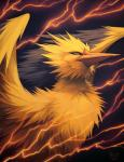 2014 ambiguous_gender avian beak bird black_background digital_media_(artwork) electricity falvie feathered_wings feathers feral fur legendary_pokémon lightning looking_at_viewer nintendo nude pokémon shadow shiny simple_background solo video_games wings yellow_eyes zapdos
