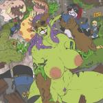 big_breasts blood breasts dannyg female feral group gun horn humanoid male monster muscular nosebleed not_furry orc pubes pussy ranged_weapon violence weapon worm