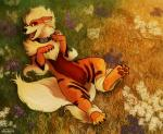 2014 ambiguous_gender arcanine canine collar digital_media_(artwork) feral field fur grass haychel looking_at_viewer lying mammal nintendo on_back open_mouth orange_fur outside pokémon red_eyes shock_collar solo spread_legs spreading tongue video_games white_fur