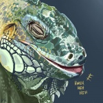 ambiguous_gender feral furikake green_scales grey_background horn iguana laugh lizard reptile scales scalie simple_background solo