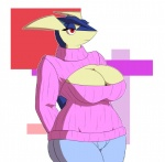 amphibian anthro big_breasts breasts cleavage clothed clothing female frog greninja jeans keyhole_turtleneck neoma nintendo pokémon red_eyes solo sweater video_games xehta13  Rating: Questionable Score: 7 User: Charyan Date: August 15, 2015