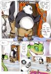 anthro avian better_late_than_never blue_eyes bulge comic curtains daigaijin dreamworks female giant_panda kung_fu_panda male mammal master_crane master_po_ping master_viper painting_(artwork) scalie traditional_media_(artwork) ursid watercolor_(artwork)