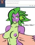 anthro anthrofied areola big_breasts breasts crossgender dragon english_text female friendship_is_magic green_eyes inuyuru looking_at_viewer my_little_pony navel nipples no_pupils nude plain_background scalie smile solo spike_(mlp) text towel tumblr white_background   Rating: Questionable  Score: 2  User: EmoCat  Date: April 23, 2015