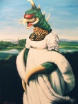 2013 ambiguous_gender anthro clothed clothing cloud detailed_background dress gigan hillarywhiterabbit inspired_by_proper_art monster outside signature sky solo