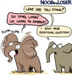 cartoon duo elephant grass mammal noob_the_loser simple_background speech_bubble text trunk white_background  Rating: Safe Score: 1 User: UristMcLurker Date: August 30, 2015
