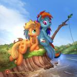 2016 applejack_(mlp) blonde_hair blue_fur creek cutie_mark day dfectivedvice duo earth_pony equine eyelashes feathered_wings feathers feral friendship_is_magic fur green_eyes hair hi_res holding_object hooves horse looking_back lying mammal multicolored_hair my_little_pony open_mouth orange_fur outside pegasus pink_eyes pony rainbow_dash_(mlp) rainbow_hair sitting sky teeth vest_(artist) water wings  Rating: Safe Score: 2 User: Millcore Date: July 31, 2016