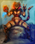 """2012 anthro armor big_breasts big_thighs breasts cat claws clothing feline female future hair helmet huge_breasts hunter looking_at_viewer machine mammal mechanical muscles neurodyne plain_background robot science_fiction smile solo thick_thighs tongue v_sign  Rating: Questionable Score: 8 User: xn0 Date: September 29, 2012"""""""
