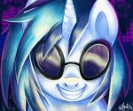 2013 abstract_background adlynh equine eyewear female feral friendship_is_magic fur glasses hair hi_res horn looking_at_viewer mammal multicolored_hair my_little_pony smile solo two_tone_hair unicorn vinyl_scratch_(mlp) white_fur  Rating: Safe Score: 11 User: ConsciousDonkey Date: January 30, 2016