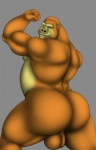 anthro ape backsack balls biceps big_butt big_muscles butt chubby flexing fur gorilla green_eyes grin looking_at_viewer looking_back male mammal muscles nude pose presenting presenting_hindquarters primate rear_view smile solo vamplust yellow_fur  Rating: Explicit Score: 6 User: Kakuya Date: December 09, 2012