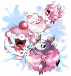 abstract_background aromatisse artsy-theo avian beak biped bird fangs gaping_mouth group half-closed_eyes happy nintendo open_mouth open_smile pokémon pokémon_(species) pseudo_clothing signature slurpuff smile spritzee swirlix tongue tongue_out unimpressed video_games