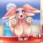2017 3_fingers anthro anthrofied audino bent_over big_breasts big_ears biped blue_eyes blush breasts digital_drawing_(artwork) digital_media_(artwork) female fluffy fluffy_tail front_view hanging_breasts hi_res inside lagomorph latiar looking_at_viewer mammal nintendo nipples noseless on_table open_mouth pink_body pink_nipples pink_tongue pokémon pokémon_center pokémorph portrait short_tail solo sparkles sparkling_eyes standing symbol-shaped_pupils table tan_body tendrils three-quarter_portrait tongue two_tone_body video_games watermark white_tail wide_eyedRating: QuestionableScore: 6User: facelessmessDate: September 13, 2017