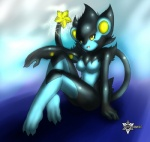 anthro barefoot black_hair breasts feline female hair human_hands luxray mammal mnxenx001 nintendo pokémon pokémorph solo video_games yellow_eyes   Rating: Questionable  Score: 16  User: iamthatguy  Date: May 21, 2013