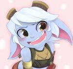 <3 <3_eyes bandlebro_(artist) bare_shoulders blue_skin blush clothing ear_piercing eyewear female goggles hair league_of_legends open_mouth piercing riot_games shortstack solo tristana_(lol) vest video_games white_hair yordle